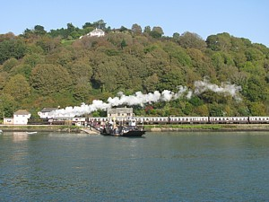 Dart Valley steam train passes Floating Bridge