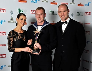 AB(D) Jamie Campbell with Kirsty Gallacher and Lawrence Dallaglio