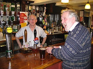 Alick with Barlow at the bar