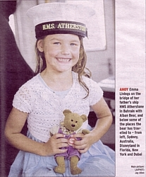 Emma Livings with 'Alban' on board HMS Atherstone in Bahrain