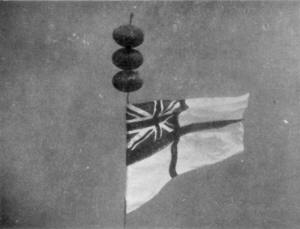 White Ensign secured to one of HMS Repulse's propeller shafts