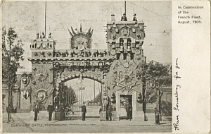 "Gunwharf's Main Gate decorated ""In celebration of the French Fleet August 1905"""