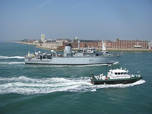 HMS Brocklesby enters harbour