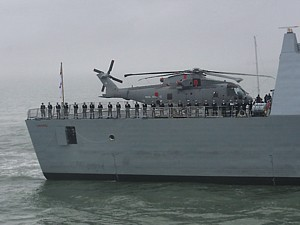 Merlin on board HMS DAring entering Portsmouth 28 Jan 08