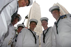 Members of HMS Quorn's ship's company in New York
