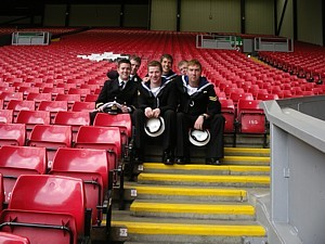 Some of HMS Ramsey's ship's company - at the Kop?