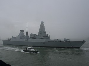 HMS Daring entering Portsmouth for the first time 28 Jan 09