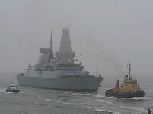 HMS Daring entering Portsmouth for the first time 28 Jan 08
