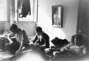 Accommodation in St Andrews Hostel, Haifa later bombed by Irgun - Shane, Murray, Power