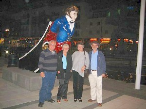 Jake with Linda Hoole, Anne Linton and Rob Hoole at Gunwharf Quays