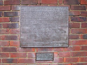 Plaque commemorating death of Lt Walter Erskine Prior RNVR