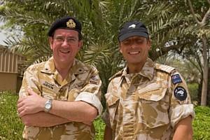 Cdre Hudson (CTF 152) with MCDOA member Topsy Turner in Bahrain in Oct 2008