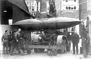 Welman midget submarine at the Frythe Hotel, Welwyn Garden City