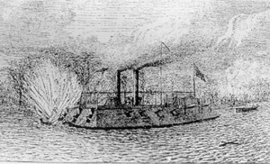 Drawing of USS Cairo, 1862.